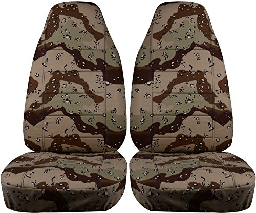 Storm Fit Bucket - Camouflage Car Seat Covers: Desert Storm Camo - Universal Fit - Front - Buckets - Option for Airbag, Seat Belt, Armrest & Seat Release/Lever Compatible (22 Prints)
