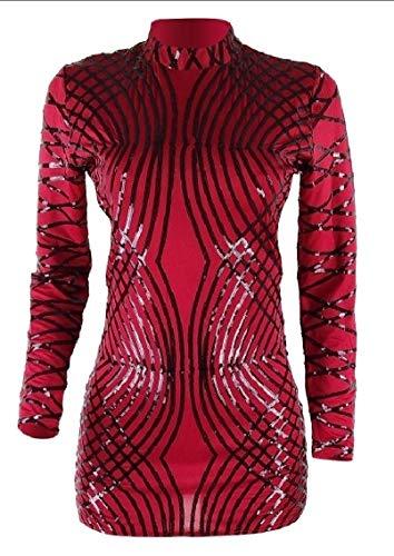 Les Paillettes De Femmes Maweisong Manches Longues Backless Partie Du Genou Robe Moulante Rouge Vin