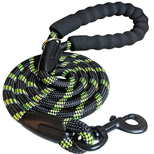 iYoShop 5 FT Strong Dog Leash with Comfortable Padded Handle and Highly Reflective Threads for Medium and Large Dogs (3/8″ X 5FT, Black/Green)