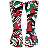 Jordan Flag With America Flag Casual Socks Crew Socks Crazy Socks Soft Breathable For Women Sports Athletic Running