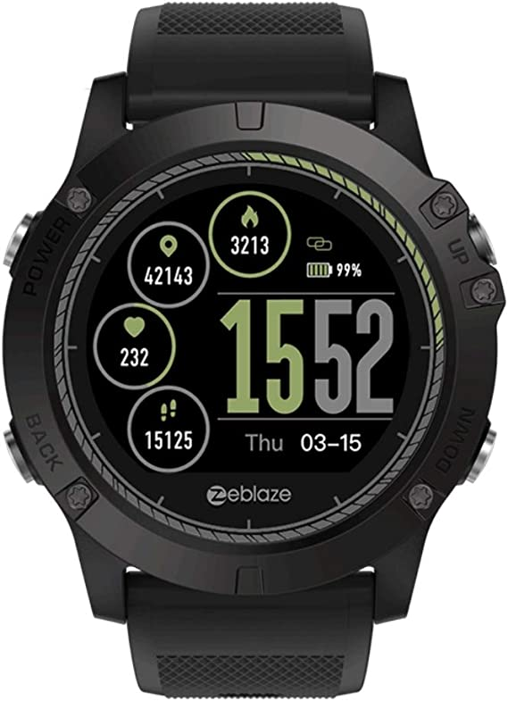 Zeblaze Vibe 3 HR Smartwatch IP67 Waterproof Wearable Device Heart Rate Monitor IPS Color Display Sport Smart Watch (Black)