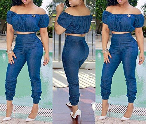 FISACE Women's Short Sleeve Off Shoulder Denim Crop Top Pants Suit Set Jumpsuit 2 Pieces
