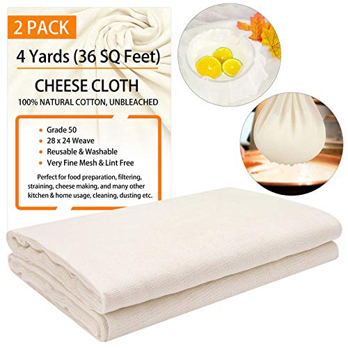 Cheesecloth Grade 50, 36 Sq Feet X 2 Pack, Total 8 Yards, 100% Unbleached Cotton Fabric Washable and Reusable