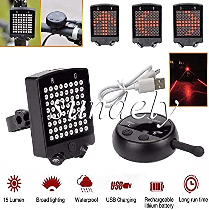 Bike Cycling Rear LED Tail Light Wireless USB Remote Control Turn Signals Laser