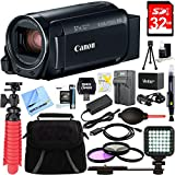 Canon VIXIA HF R800 Camcorder Black Bundle with 32GB Memory Card, Camera Bag, 43mm Filter Kit, Battery, LED Light, Table-top Tripod, Charger and HDMI Cable
