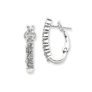 .925 Sterling Silver 24 MM CZ Snap Back Post Earrings