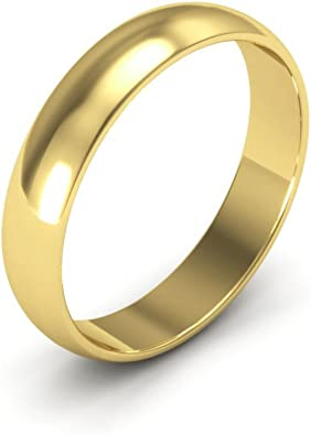 10K Yellow Gold mens and womens plain wedding bands 6mm half round