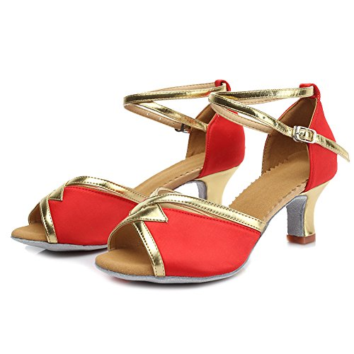 Roummall Damen Satin Latin Tanzschuhe Modell 225 5cm Rot