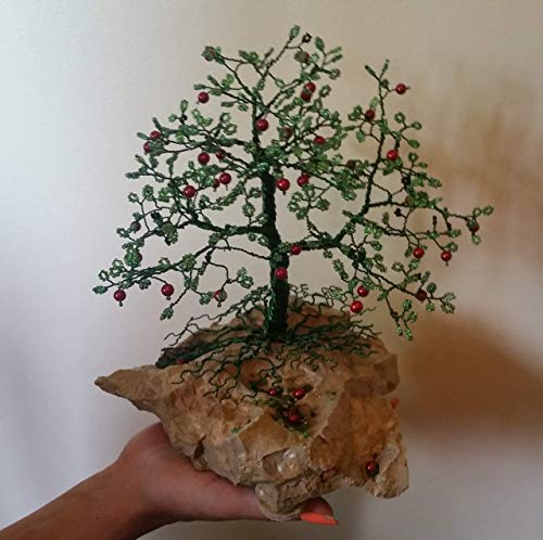 Home Decor Beaded Wire Tree Bonsai - Green Glass Beads & Red Pearls on River ()