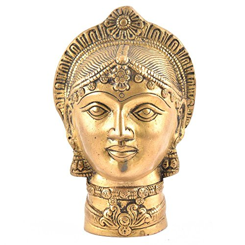 Indianshelf Handmade Brass Devi Mukhota Lady Head Statues Decoration Designer Vintage Statement Pieces Online New by Indian Shelf
