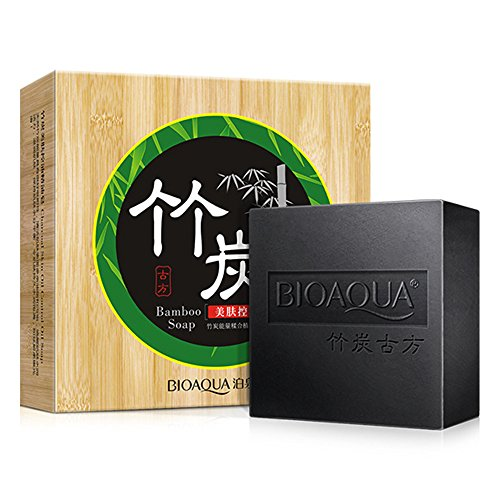 BIOAQUA Charcoal Bamboo Soap Deep Cleanses Skin Blackhead Acne Pore Strip Peel Off Gentle Care Absorbs Dirt 80g