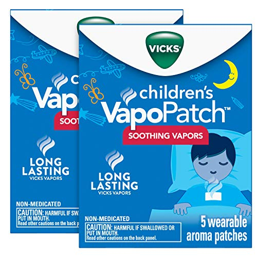 Vicks Children's VapoPatch, Long Lasting Soothing Vicks Vapors for Children Ages 6+, Mess-Free Aroma Patch, Apply to Clothing, 10 Patches (2 Packs of 5)
