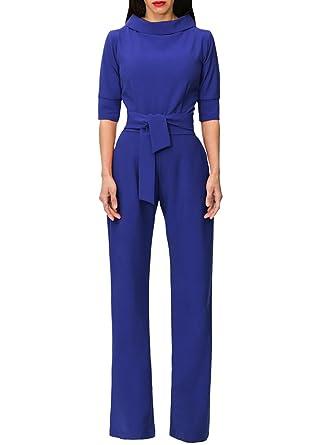 a12baa7ba79c Amazon.com  GUOLEZEEV Elegant Long Straight Leg Jumspuit Women Solid Half  Sleeve Romper Playsuit  Clothing