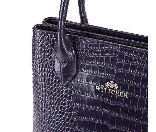 Borsa Classica Wittchen | 36x25cm, Pelle Cicatrice | Adatto Per Formato A4: No | Viola, Collezione: Croco | 15-4-529-f