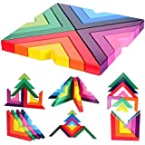 Lewo Wooden Rainbow Stacking Game Stacker Geometry Building Blocks Creative Nesting Educational Toys Kids Toddlers (Rainbow Stacking Game)
