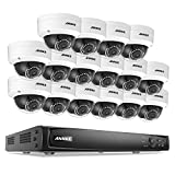 ANNKE 16-Channel 1080p Power over Ethernet Video Smart Security System and (16) 1920TVL 2.0MP Weatherproof HD IP Cameras with 100ft Super Day Night Vision, NO HDD