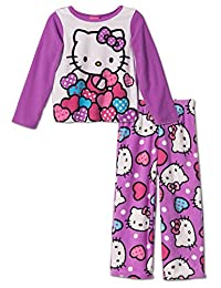 Hello Kitty Little Girls'Hearts and Bows Cozy Fleece Pajama Set