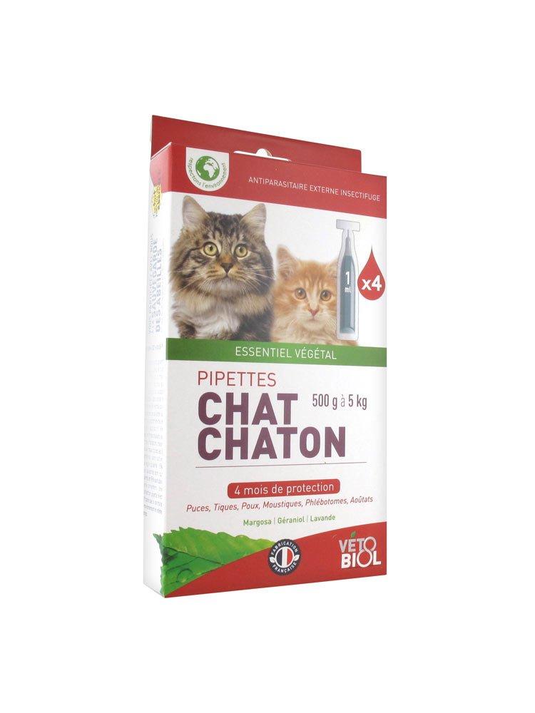 vétobiol pipetas gato 1 con 5 kg 4 pipetas: Amazon.es: Productos para mascotas