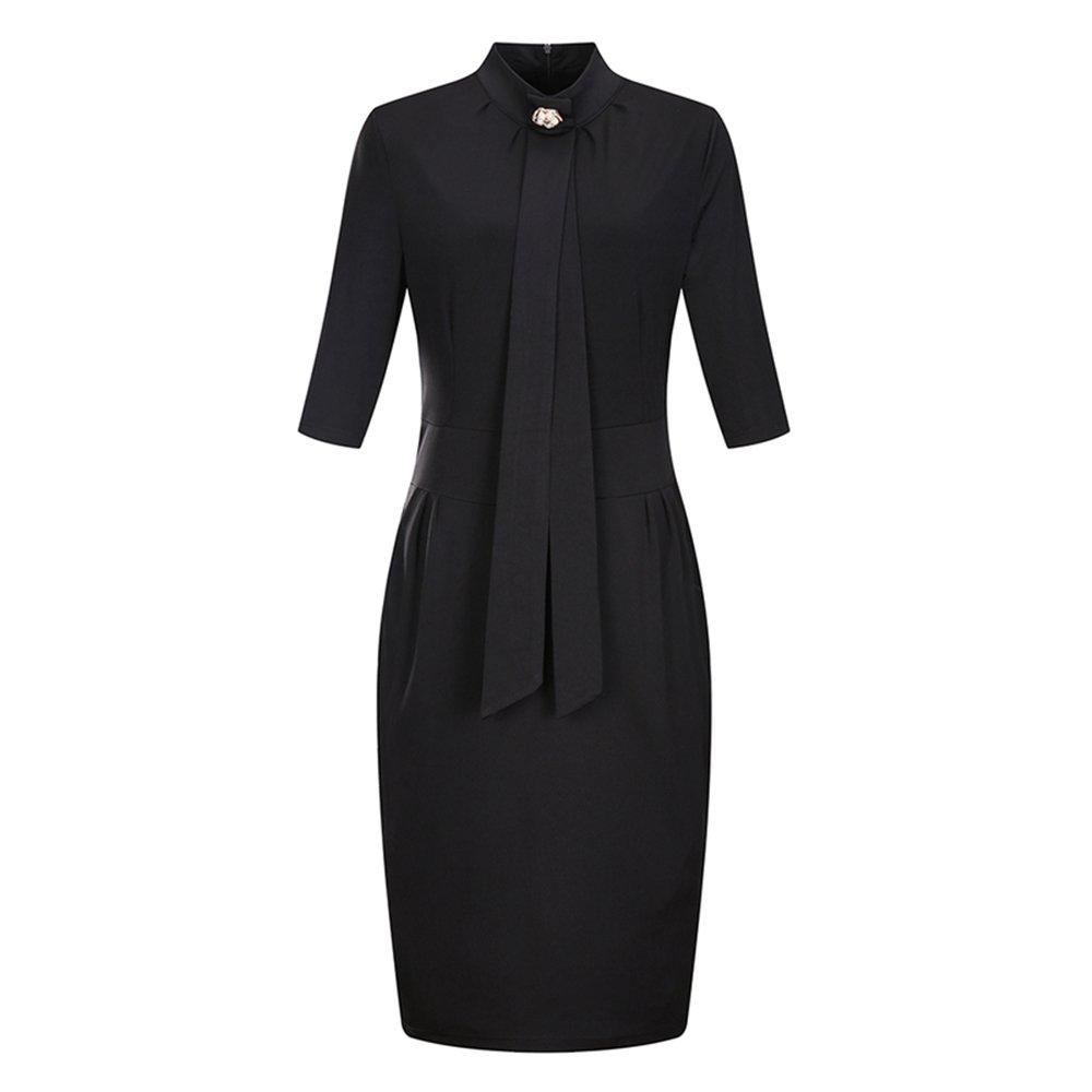BaronHong Women's Plus Größe Sommer Kurzarm Stehkragen Sexy A-Linie Kleid