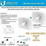 Ubiquiti Network LiteBeam Gen 2 5ac LBE-5AC-Gen2-US PRE CONFIGURED 2X2 MIMO airMAX 5GHz 23dBi 450Mbps (2 PACK)