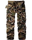 cargo camo pants - Jessie Kidden Men's Loose Cotton Cargo Pants With 8 Pockets #7533,Camouflage,32
