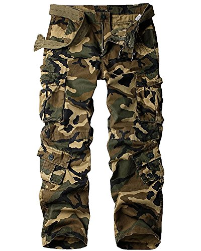 Men's Cotton Casual Military Army Cargo Camo Combat Work Pants with 8 Pocket #6058,Camouflage,US 29