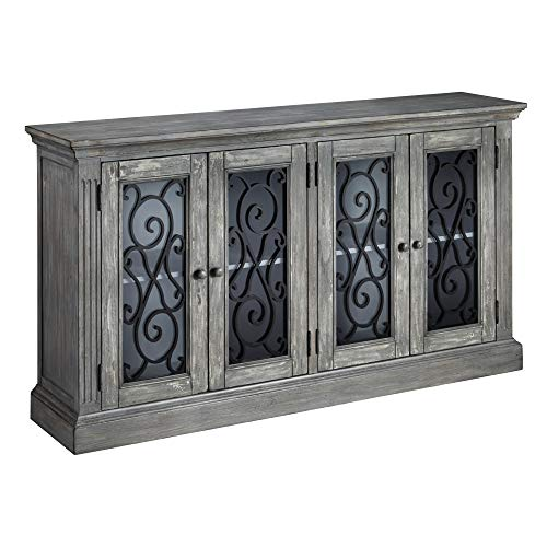 Ashley Furniture Signature Design - Mirimyn 4-Door Accent Cabinet - Casual - Antique Gray