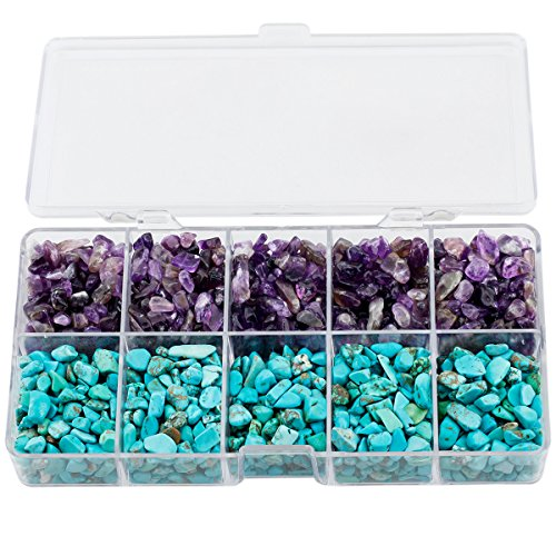 - mookaitedecor Crystal Chips Tumbled Stone, 500g Mix Amethyst & Blue Howlite Turquoise for Cabbing, Tumbling, Healing Set
