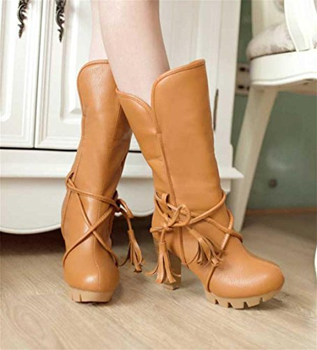 Heels Autumn Platform Heel Winter Women HETAO Personality Western Temperament Strapshigh Boots Up Elegant Ankle Lace Heel Boots Sexy Short Yellow Shoes zv5v6wW