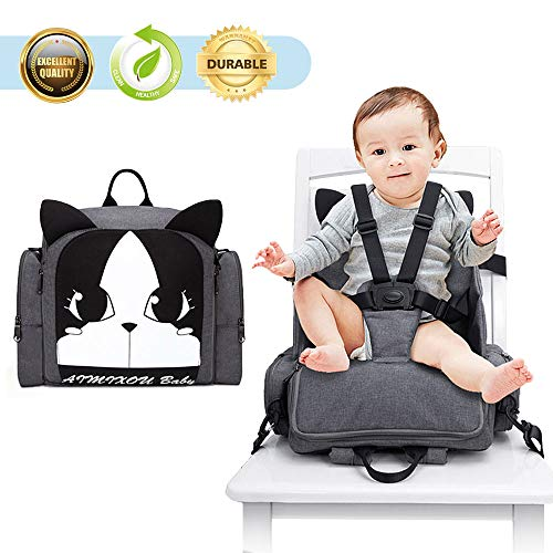 HOOMALL 3 in 1 Booster Seat Diaper Bag for Boys Girls/Mom Dad Backpack Multifunction Travel Back Pack Maternity Baby Nappy Changing Bags for Dining Table Planes and Trave (one Size, Black) (Dining 1 3 Table In)
