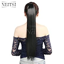 "Neitsi 22"" Straight Synthetic Hairpiece Wrap Clip in Ponytail Synthetic Hair Ponytail (1B#)"