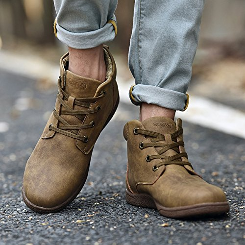 Fashion Men's for Shoes Boots Winter Waterproof Martin Boots Lining Lace Leather Boots Men Khaki up gracosy Cotton wTXSqCn