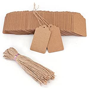 Tosnail 200 Pack Kraft Paper Gift Tags with Free 200 Root Natural Jute Twine
