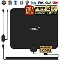 HD DIGITAL TV ANTENNA INDOOR - Apmlified HDTV Aantenna 50-80 Mile Range 16.5ft Coax Cable 4k 1080p Freeview Channels with Magnetic Ring and Amplifier Signal Booster [2018 UPGRADED]