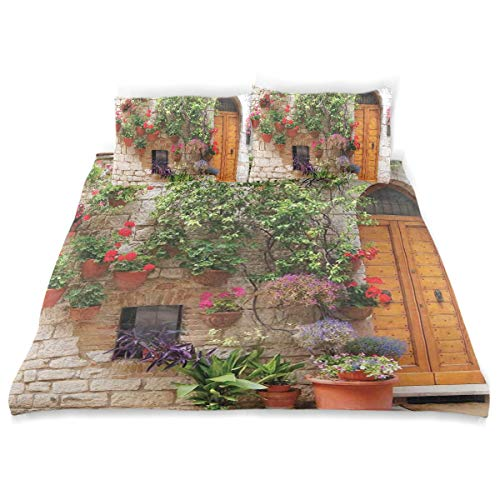 Shutters Window Boxes - YCHY Decor Duvet Cover Set, Begonia Blossoms in Box Window Wooden Shutters Brick Wall Romagna Italy A Decorative 3 Pcs Bedding Set with Pillowcases, Twin/Twin XL