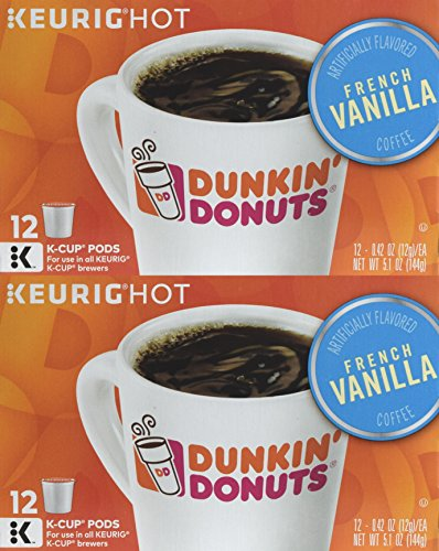 (Dunkin' Donuts Hot Bevrage K-Cups (French Vanilla, Two Boxes (24 Pods) )