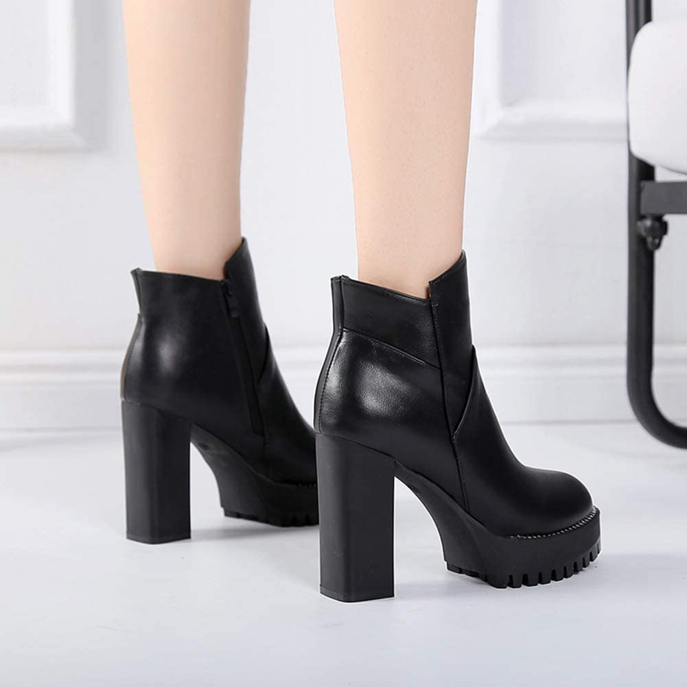 Womens Square High Heels Ankle Boots Fashion Platform Zipper PU Leather Round Toe Booties