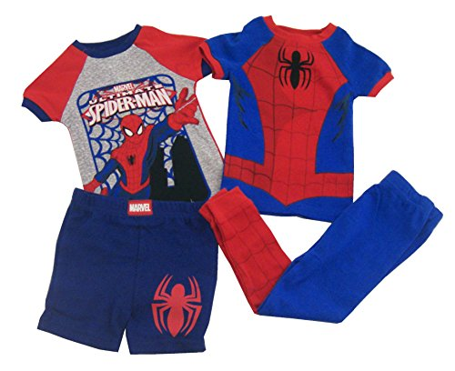 Marvel Boys Ultimate Spider-Man 4pc Pajama Set, Red/Blue, 3T