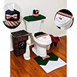 REDSTAR SNOW MAN CHRISTMAS BATHROOM SUIT SET - SNOWMAN TOILET SEAT COVER, RUG AND TISSUE BOX - XMAS GIFT SET by Red Star