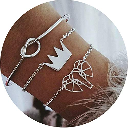 Small Oranges Bohemian Handmade Weave Heart Long Tassel Bracelet Sets Women 2019 New Grey Rope Chain Bracelets Jewelry, S291 ()