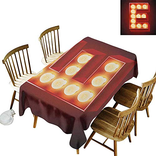 Cranekey Hall Rectangular Tablecloth W54 x L72 Letter E Nightclub Inspired Alphabet Font Design Casino Gambling Theme Image Vermilion Yellow Black Great for Coffee More