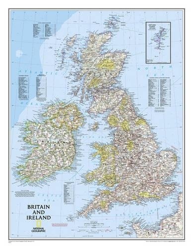 National Geographic: Britain and Ireland Classic Wall Map - Laminated (23.5 x 30.25 inches)...
