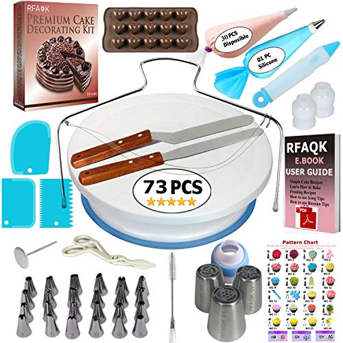 (73 pcs Cake Decorating Supplies Kit for Beginners- Baking Supplies- 1 Turntable stand-24 Numbered icing tips-1 Cake Leveler-Straight & Angled Spatula- baking accessories & Cake tools- 3 Russian tips)