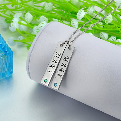 Valyria Personalized Vertical Bar Necklace with Birthstones - Custom Made with Any Name,Stainless Steel Personalized Necklace (2 Names - Silver)