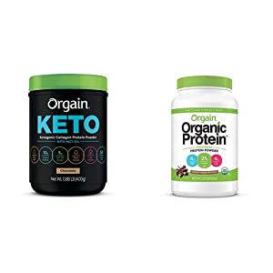 Orgain Keto Collagen Protein Powder with MCT Oil, Chocolate, Grass Fed Hydrolyzed Collagen Peptides Type I and III, 0.88 Pound & Organic Plant Based Protein Powder, Creamy Chocolate Fudge