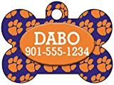 Clemson Tigers Pet Id Tag for Dogs & Cats Personalized w Your Pet's Name & Number