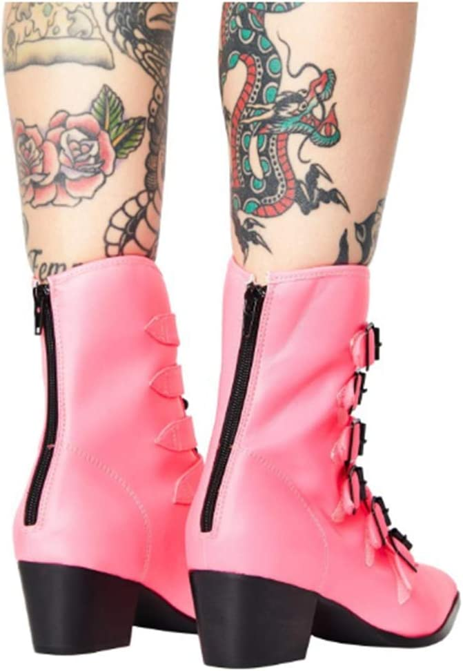 5 cm (1,97 Zoll) Gürtelschnalle Womens Kurze Stiefel Heels, Dicke Lackleder Heels Spitz Zip Größe 34-48 Pink