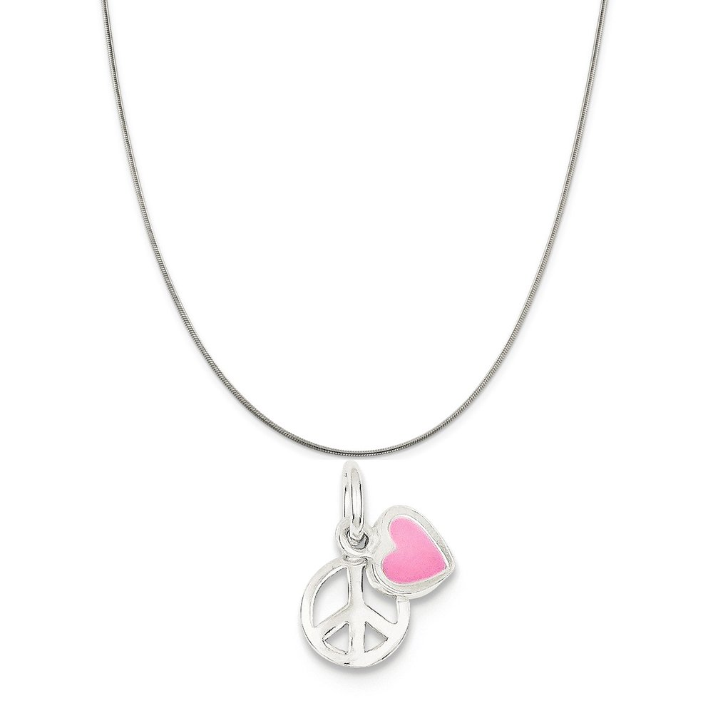 Sterling Silver Peace Sign With Pink Enamel Heart Pendant on a Sterling Silver Cable Snake or Ball Chain Necklace