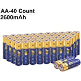 JMEXSUSS 40 Pack 2600mAh High-Capacity Alkaline AA Batteries (40 Count, AA, 2600mAh)