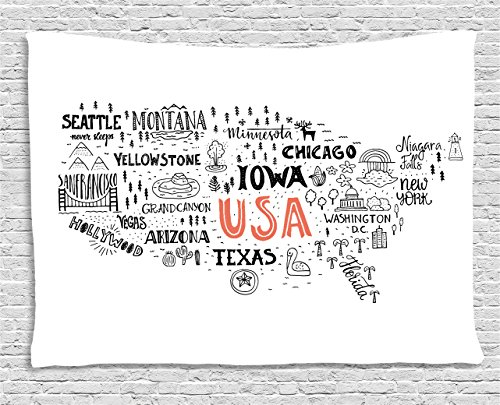 Ambesonne USA Map Tapestry by, United States of America City Typography Pattern with Local Figures Concept, Wall Hanging for Bedroom Living Room Dorm, 80 W X 60 L Inches, Grey Coral White